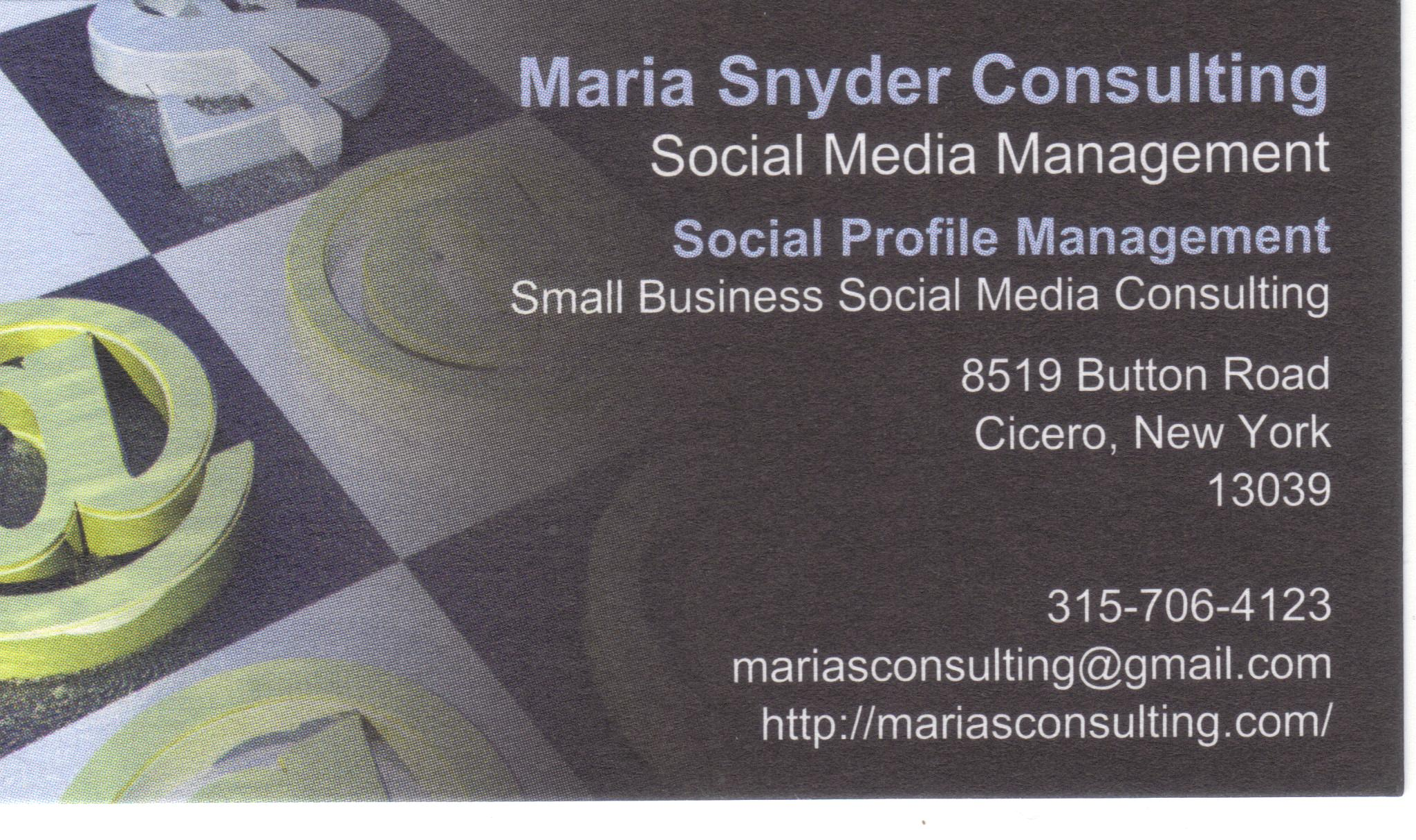 Maria Snyder Consulting business card -
